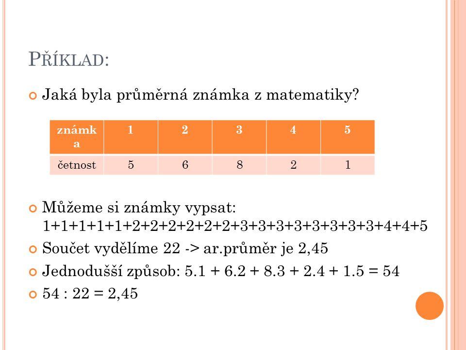 Příklad: Jaká byla průměrná známka z matematiky