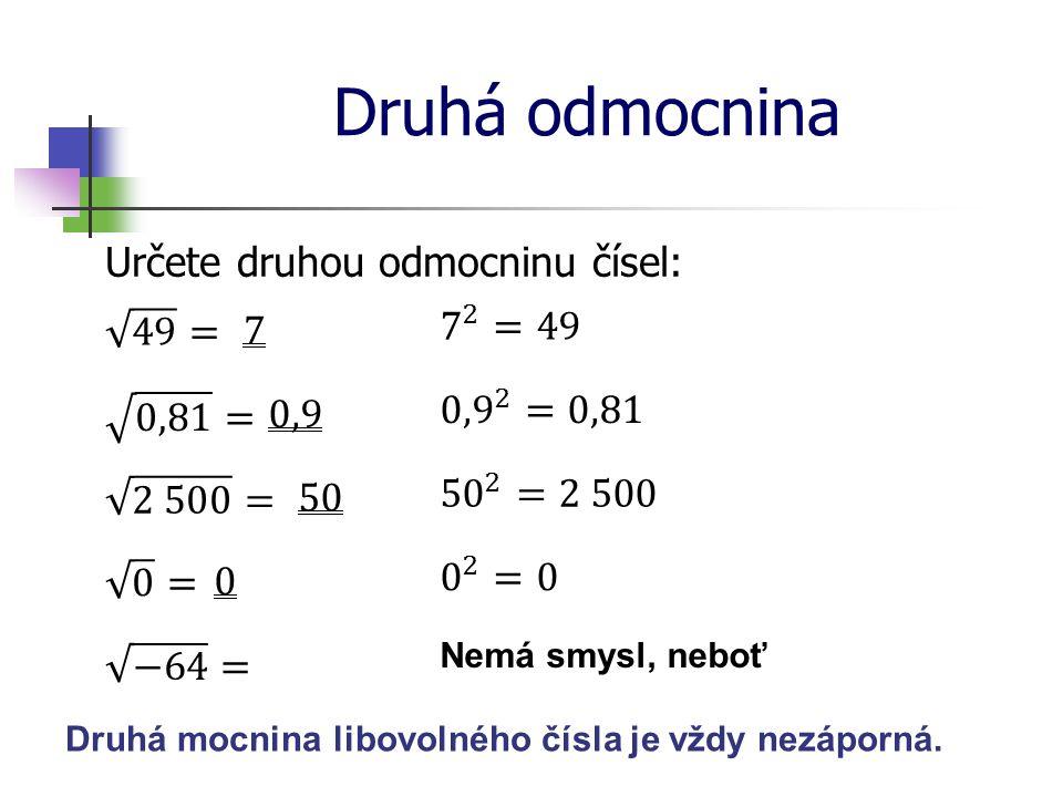 Druhá odmocnina Určete druhou odmocninu čísel: 49 = 7 7 2 =49 0,81 =