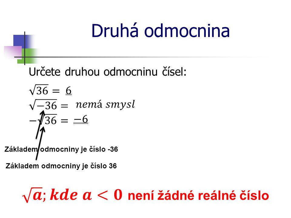 𝒂 ;𝒌𝒅𝒆 𝒂<𝟎 není žádné reálné číslo