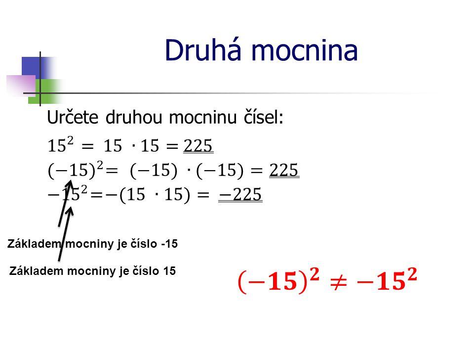 Druhá mocnina −𝟏𝟓 𝟐 ≠ −𝟏𝟓 𝟐 Určete druhou mocninu čísel: 15 2 =