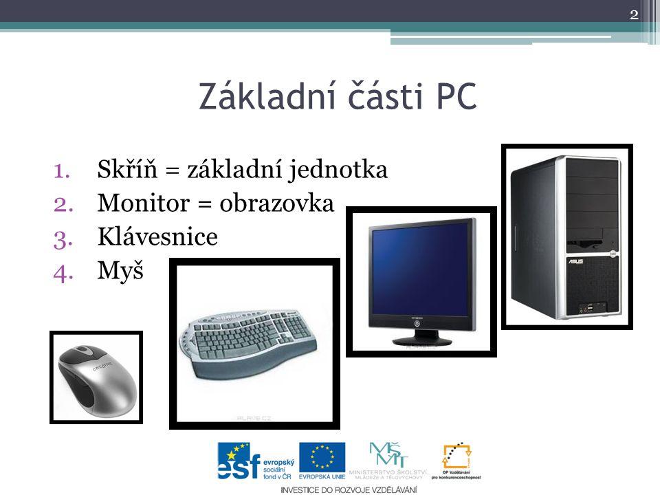 Základní části PC Skříň = základní jednotka Monitor = obrazovka