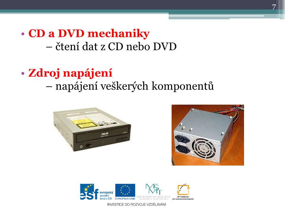 CD a DVD mechaniky – čtení dat z CD nebo DVD Zdroj napájení – napájení veškerých komponentů