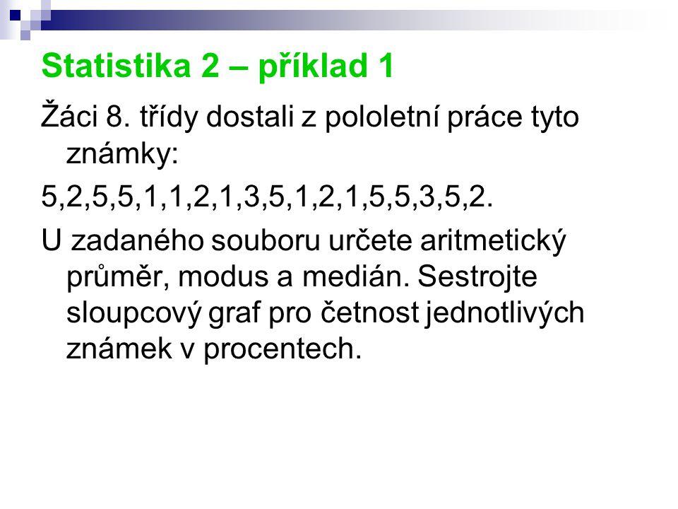 Statistika 2 – příklad 1 Žáci 8. třídy dostali z pololetní práce tyto známky: 5,2,5,5,1,1,2,1,3,5,1,2,1,5,5,3,5,2.
