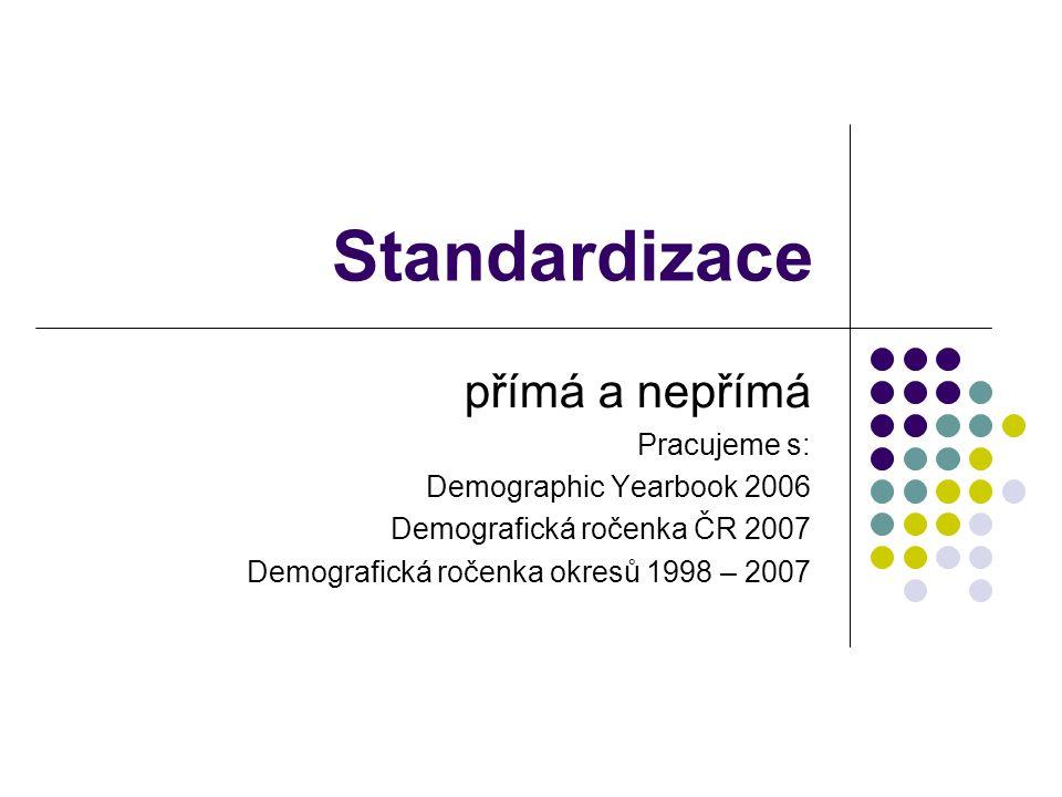 Standardizace přímá a nepřímá Pracujeme s: Demographic Yearbook 2006
