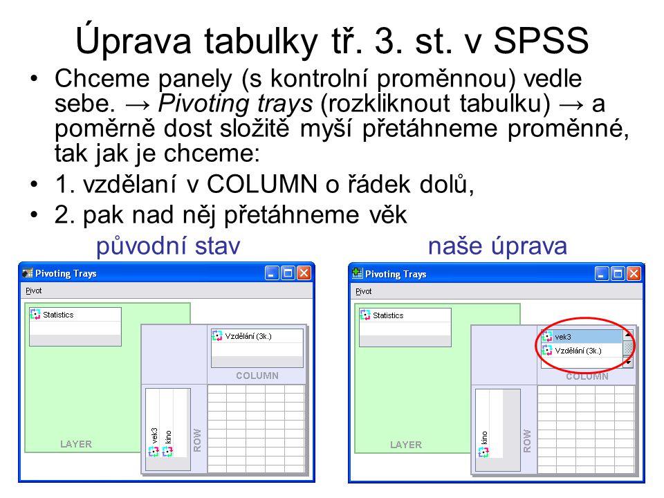 Úprava tabulky tř. 3. st. v SPSS