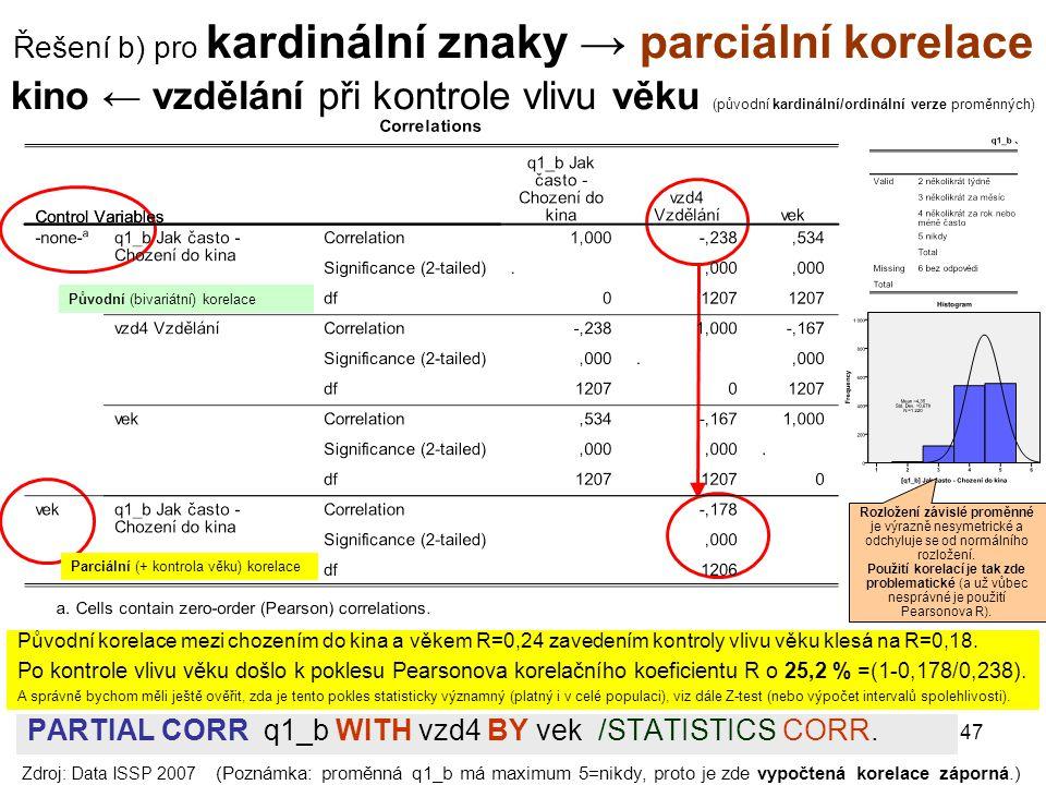 Řešení b) pro kardinální znaky → parciální korelace kino ← vzdělání při kontrole vlivu věku (původní kardinální/ordinální verze proměnných)