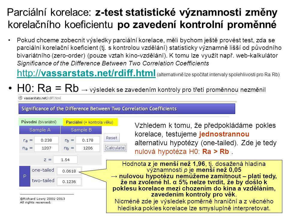 Parciální korelace: z-test statistické významnosti změny korelačního koeficientu po zavedení kontrolní proměnné