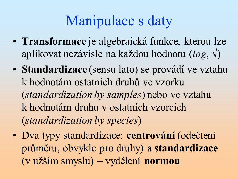 Manipulace s daty Transformace je algebraická funkce, kterou lze aplikovat nezávisle na každou hodnotu (log, √)