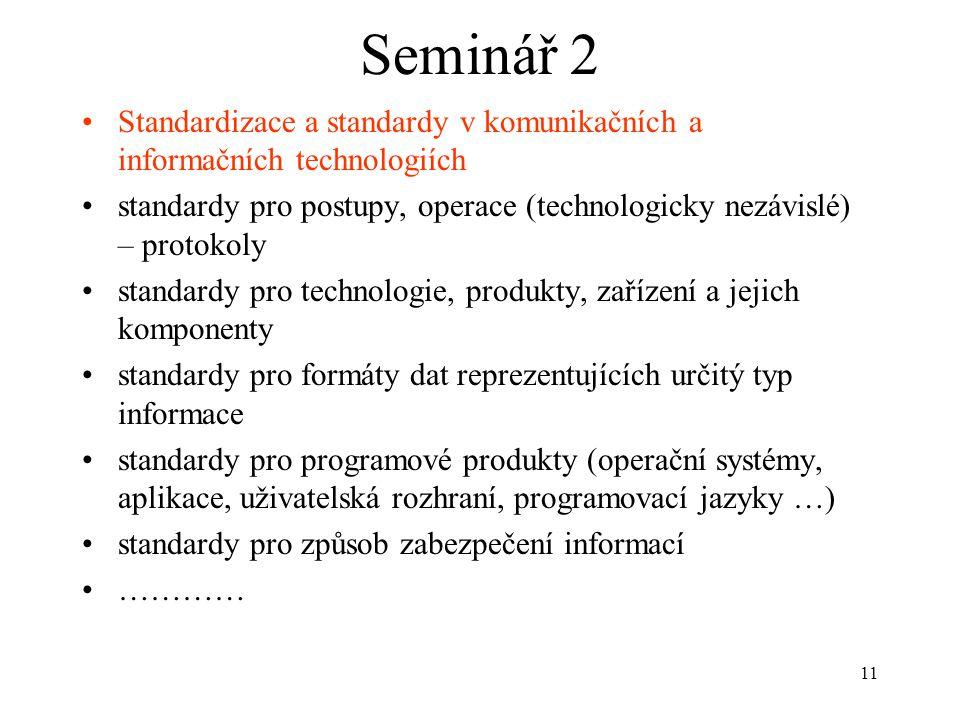 Seminář 2 Standardizace a standardy v komunikačních a informačních technologiích.