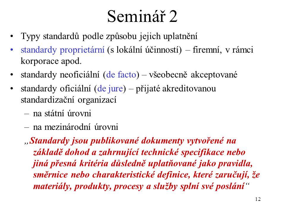 Seminář 2 Typy standardů podle způsobu jejich uplatnění