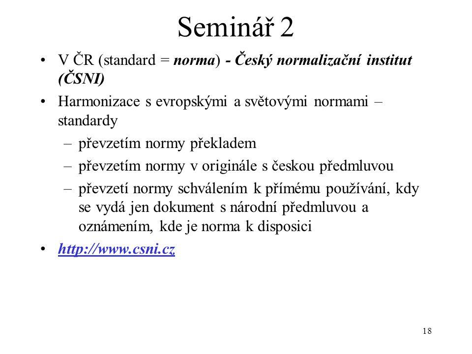 Seminář 2 V ČR (standard = norma) - Český normalizační institut (ČSNI)
