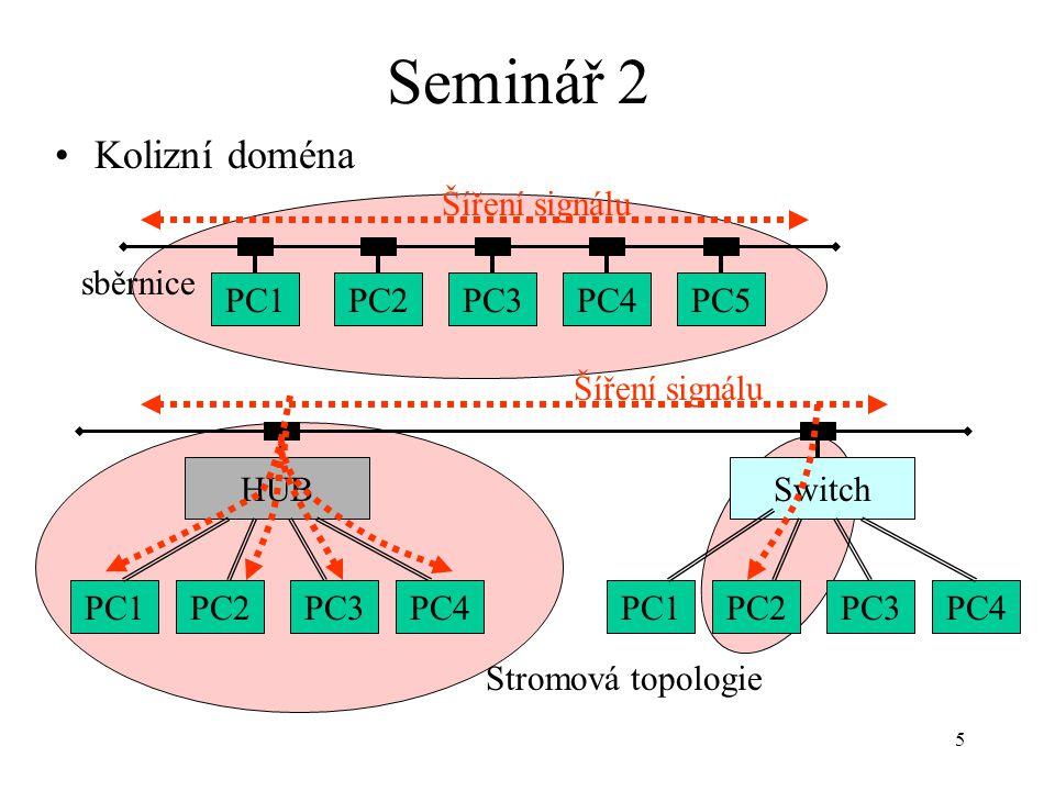 Seminář 2 Kolizní doména PC1 PC2 PC3 PC4 PC5 sběrnice Šíření signálu