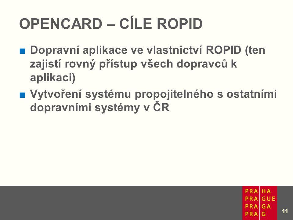 Opencard – cíle ROPID Dopravní aplikace ve vlastnictví ROPID (ten zajistí rovný přístup všech dopravců k aplikaci)