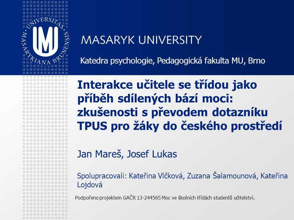 Katedra psychologie, Pedagogická fakulta MU, Brno