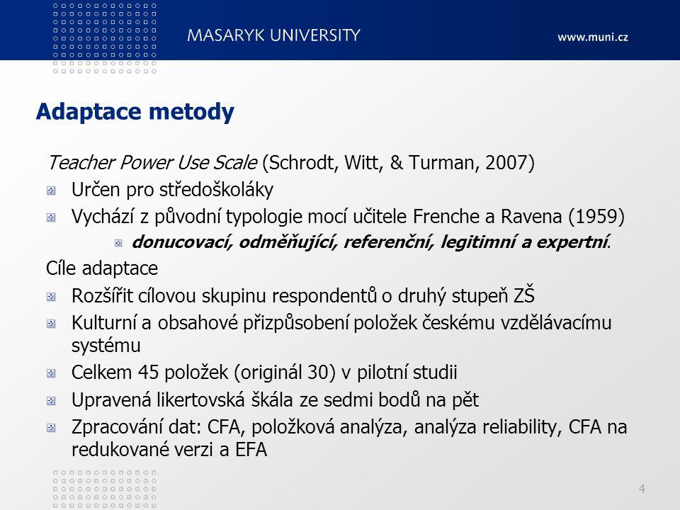 Adaptace metody Teacher Power Use Scale (Schrodt, Witt, & Turman, 2007) Určen pro středoškoláky.