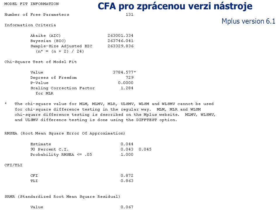 CFA pro zprácenou verzi nástroje