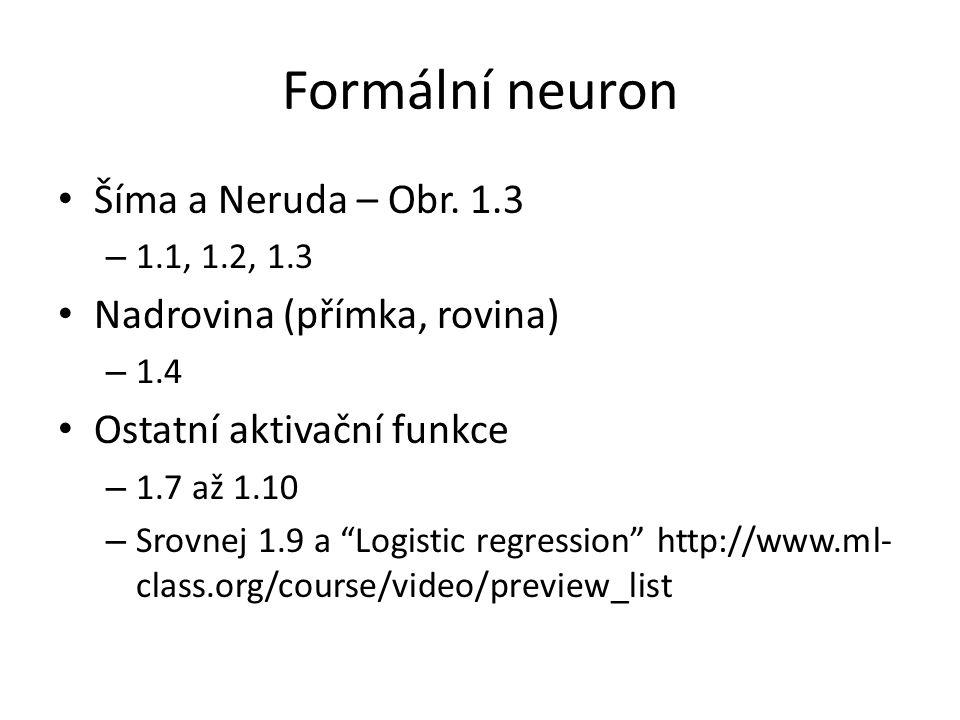 Formální neuron Šíma a Neruda – Obr. 1.3 Nadrovina (přímka, rovina)
