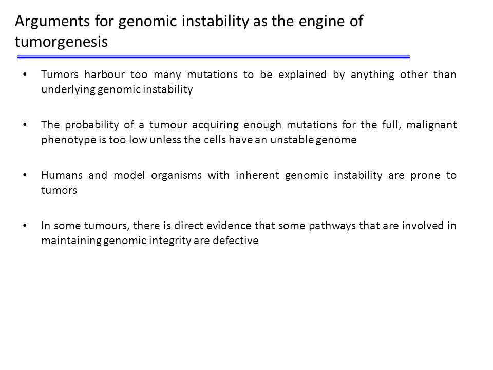 Arguments for genomic instability as the engine of tumorgenesis
