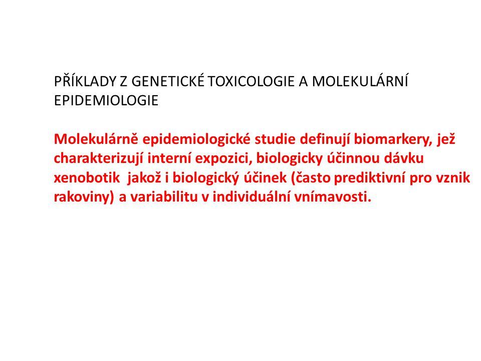 PŘÍKLADY Z GENETICKÉ TOXICOLOGIE A MOLEKULÁRNÍ EPIDEMIOLOGIE