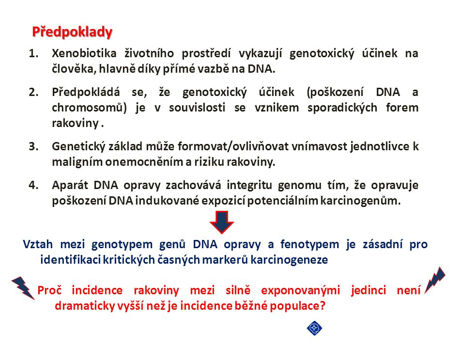 Předpoklady Xenobiotika životního prostředí vykazují genotoxický účinek na člověka, hlavně díky přímé vazbě na DNA.