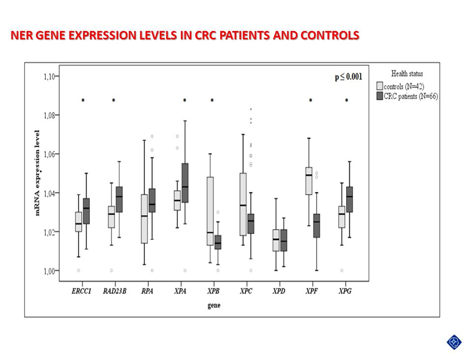 NER GENE EXPRESSION LEVELS IN CRC PATIENTS AND CONTROLS