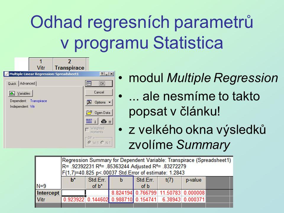 Odhad regresních parametrů v programu Statistica