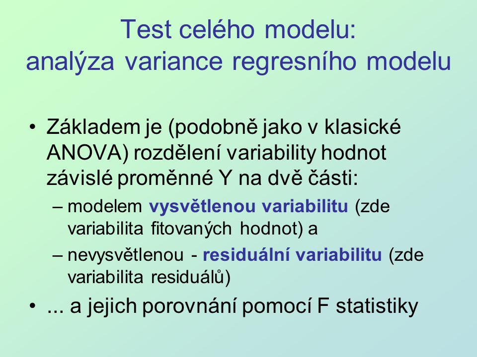 Test celého modelu: analýza variance regresního modelu