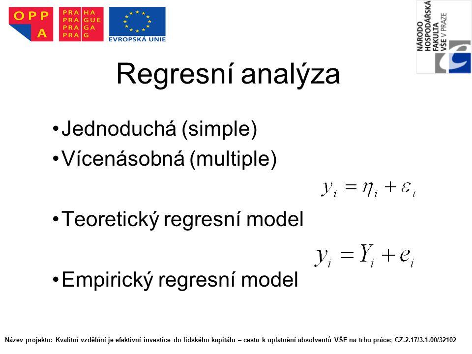 Regresní analýza Jednoduchá (simple) Vícenásobná (multiple)