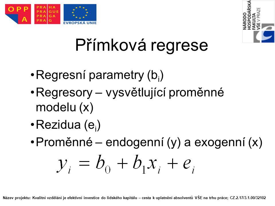 Přímková regrese Regresní parametry (bi)