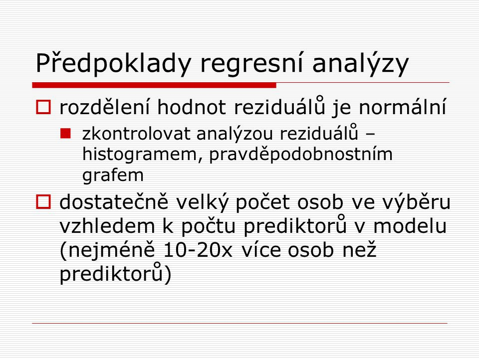 Předpoklady regresní analýzy