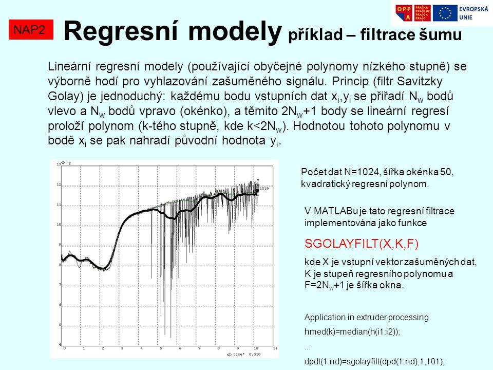 Regresní modely příklad – filtrace šumu