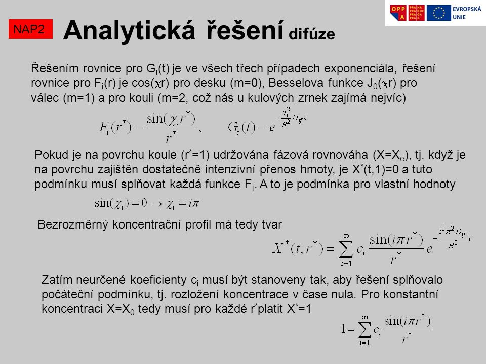 Analytická řešení difúze