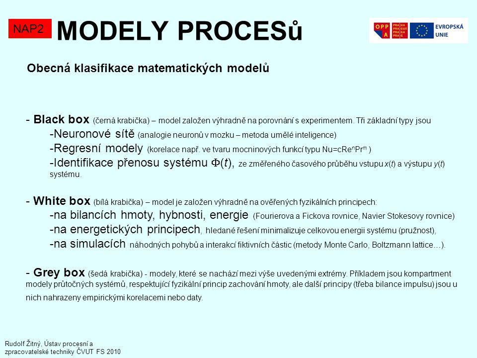 MODELY PROCESů NAP2 Obecná klasifikace matematických modelů