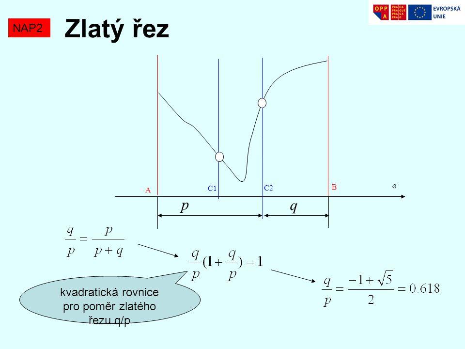 kvadratická rovnice pro poměr zlatého řezu q/p