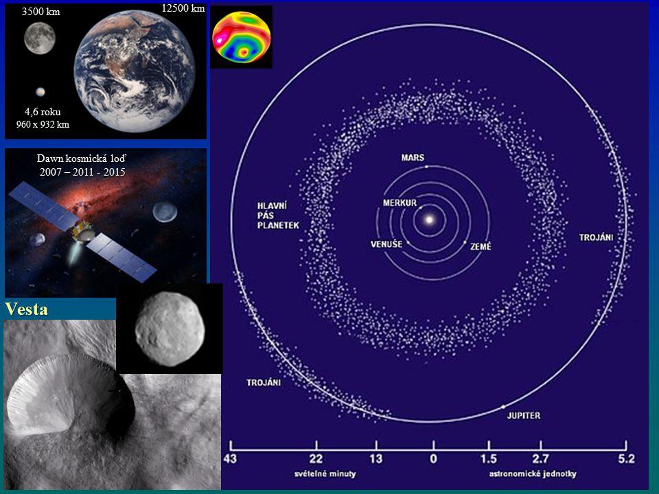Vesta 12500 km 3500 km 4,6 roku Dawn kosmická loď 2007 – 2011 - 2015