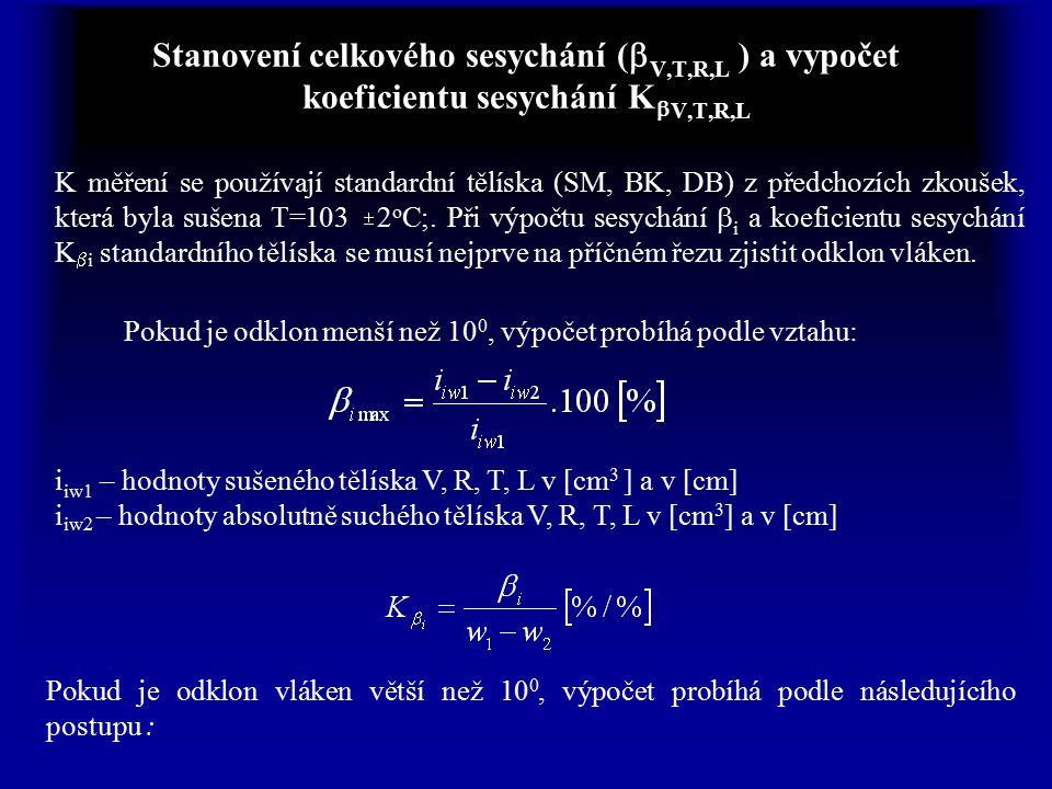 Stanovení celkového sesychání (bV,T,R,L ) a vypočet koeficientu sesychání KbV,T,R,L