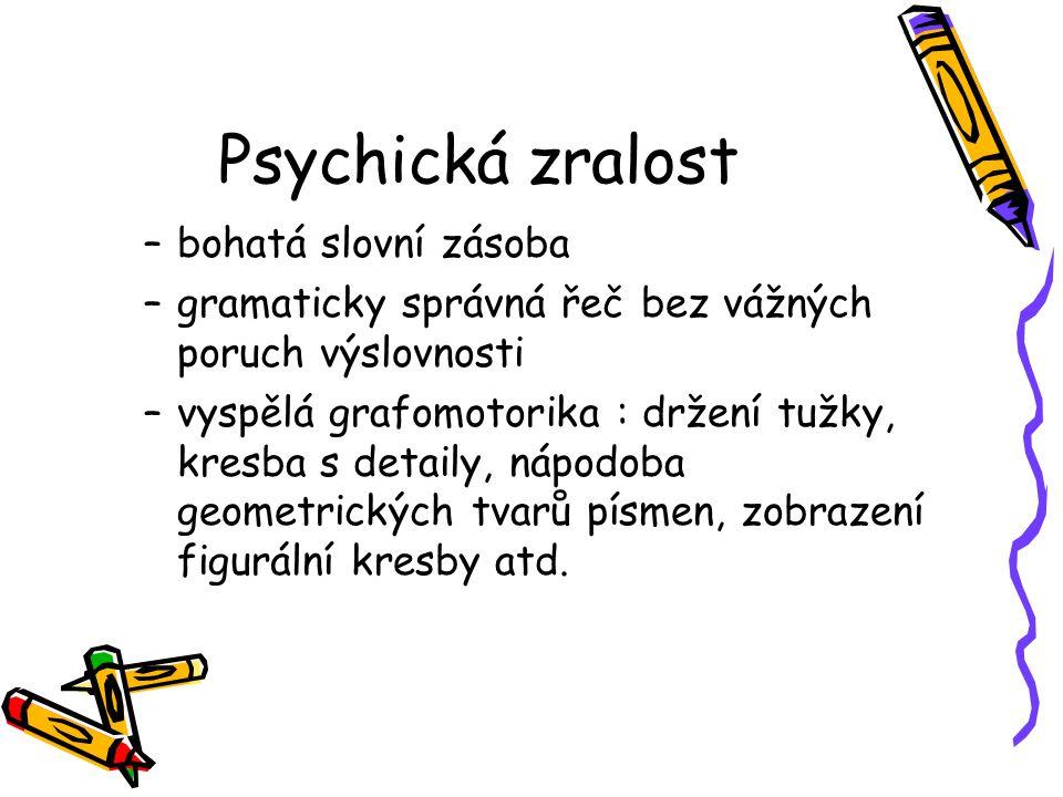 Psychická zralost bohatá slovní zásoba