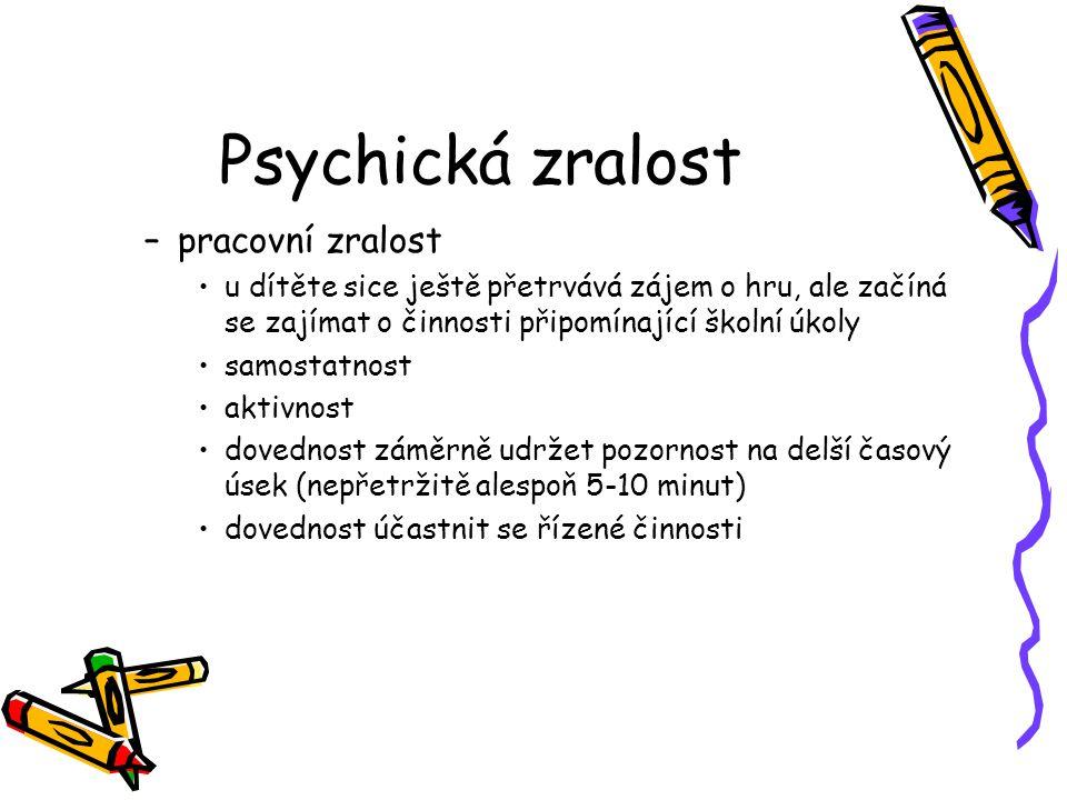 Psychická zralost pracovní zralost