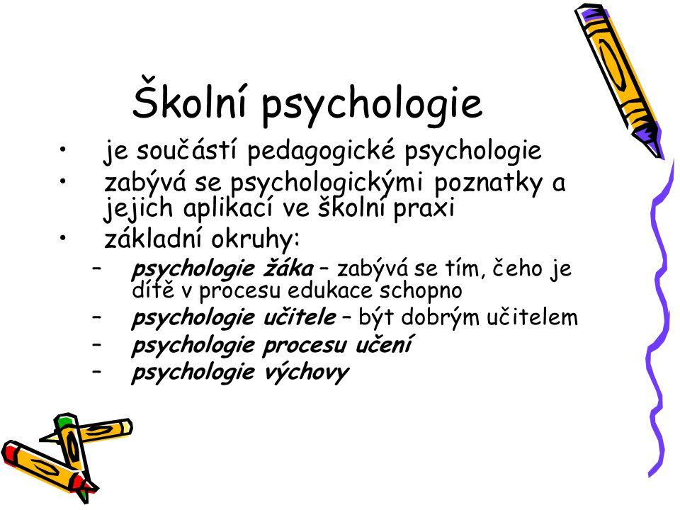 Školní psychologie je součástí pedagogické psychologie