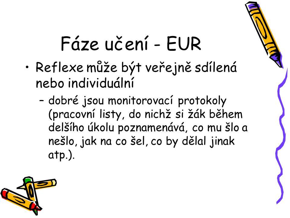 Fáze učení - EUR Reflexe může být veřejně sdílená nebo individuální
