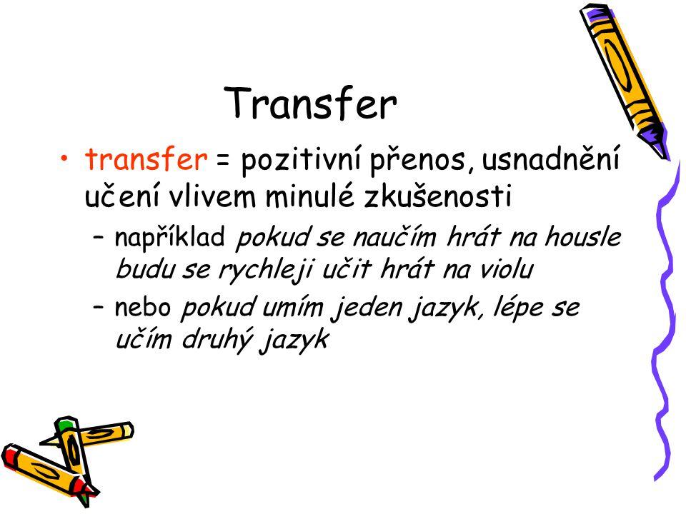 Transfer transfer = pozitivní přenos, usnadnění učení vlivem minulé zkušenosti.