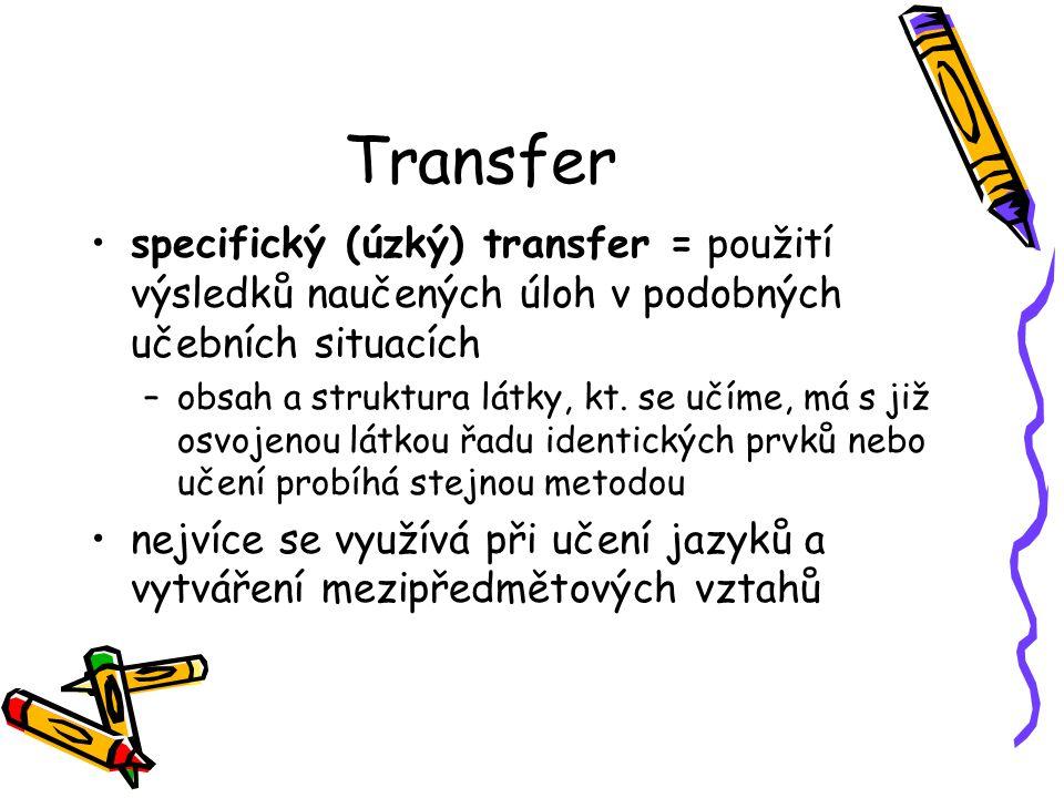 Transfer specifický (úzký) transfer = použití výsledků naučených úloh v podobných učebních situacích.