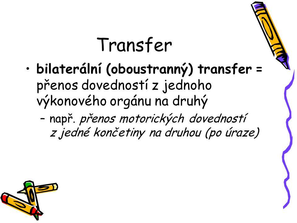 Transfer bilaterální (oboustranný) transfer = přenos dovedností z jednoho výkonového orgánu na druhý.