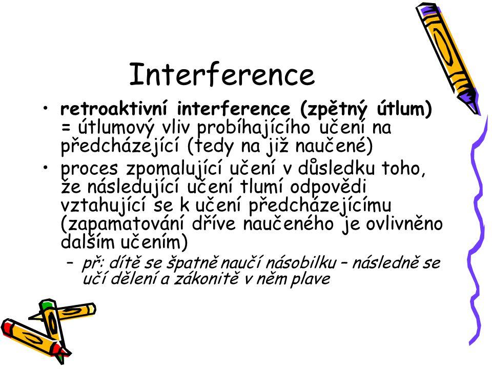 Interference retroaktivní interference (zpětný útlum) = útlumový vliv probíhajícího učení na předcházející (tedy na již naučené)