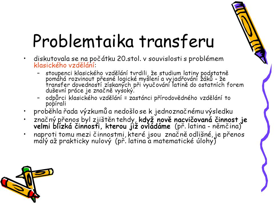 Problemtaika transferu