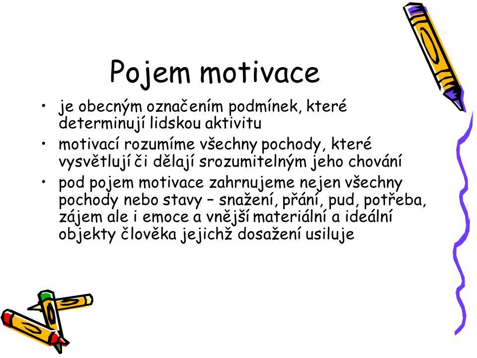 Pojem motivace je obecným označením podmínek, které determinují lidskou aktivitu.