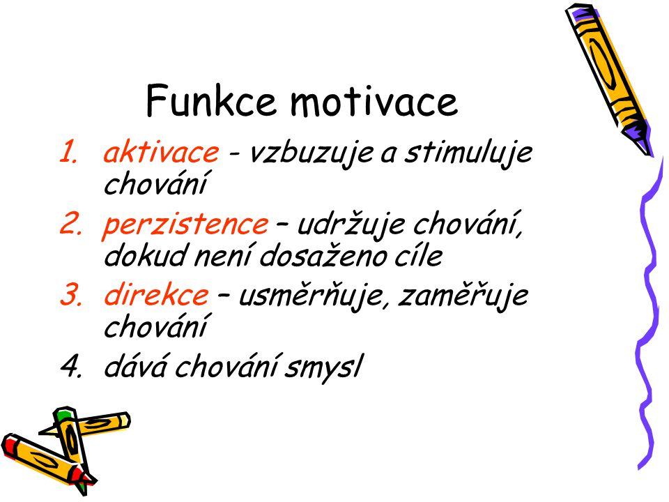 Funkce motivace aktivace - vzbuzuje a stimuluje chování