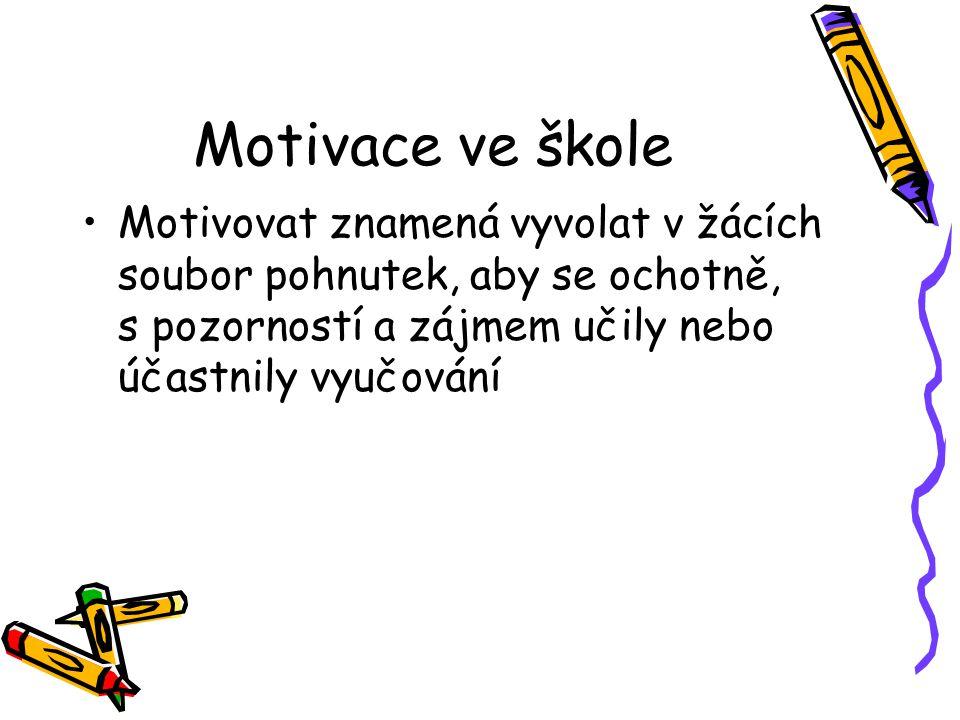 Motivace ve škole Motivovat znamená vyvolat v žácích soubor pohnutek, aby se ochotně, s pozorností a zájmem učily nebo účastnily vyučování.