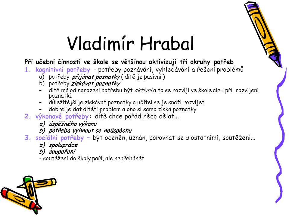 Vladimír Hrabal Při učební činnosti ve škole se většinou aktivizují tři okruhy potřeb.