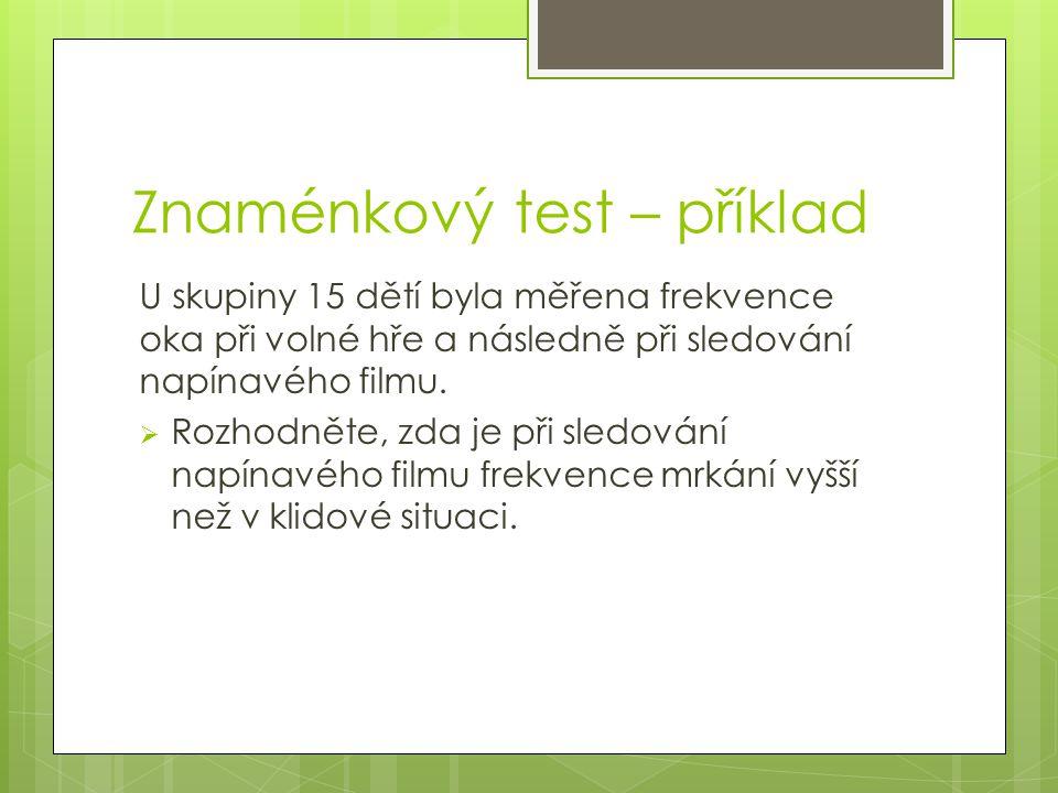 Znaménkový test – příklad